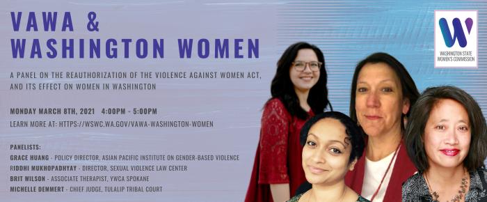 VAWA & Washington Women, March 8th, 4:00pm to 5:00pm