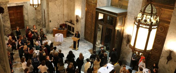 Large Crowd photo of the January 28th Outreach Event in the Temple of Justice